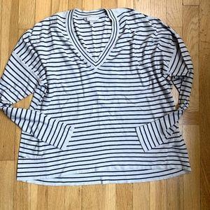 Athleta Stripe Cashmere Silk Navy Stripe Sweater L
